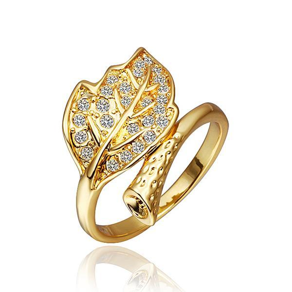 Vienna Jewelry Gold Plated Crystal Jewels Leaf Branch Bring Size 8