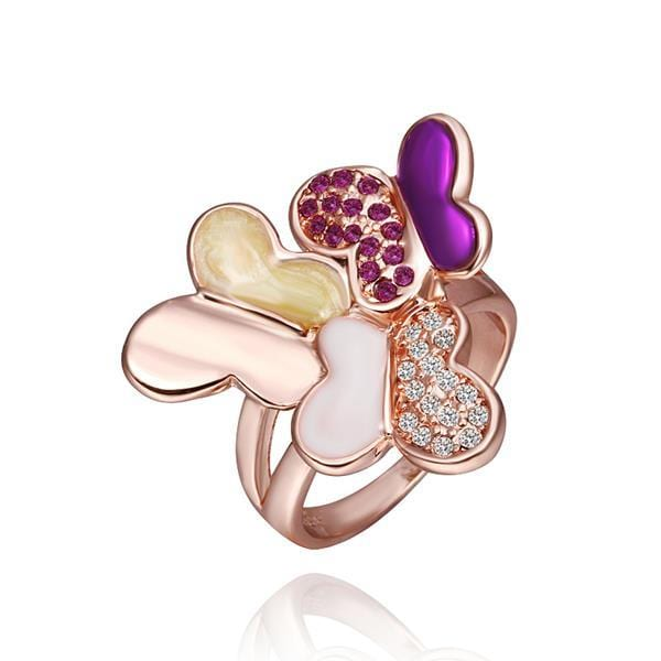 Vienna Jewelry Rose Gold Plated Lavender Citrine Flying Butterfly Ring Size 8