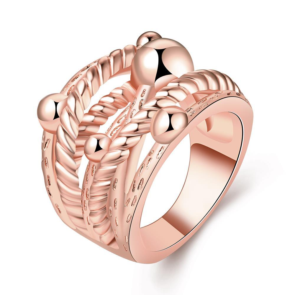 Vienna Jewelry Rose Gold Plated Spiral Wire Design Ring Size 7
