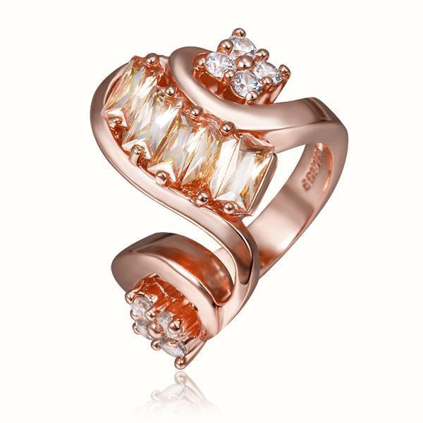 Vienna Jewelry Rose Gold Plated Swirl Modern Twist Design Ring Size 8