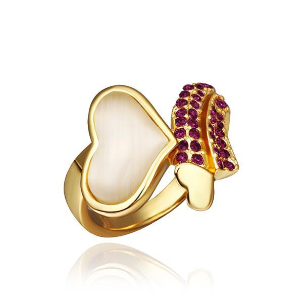 Vienna Jewelry Gold Plated Lavender Citrine Heart Shaped Ring Size 8