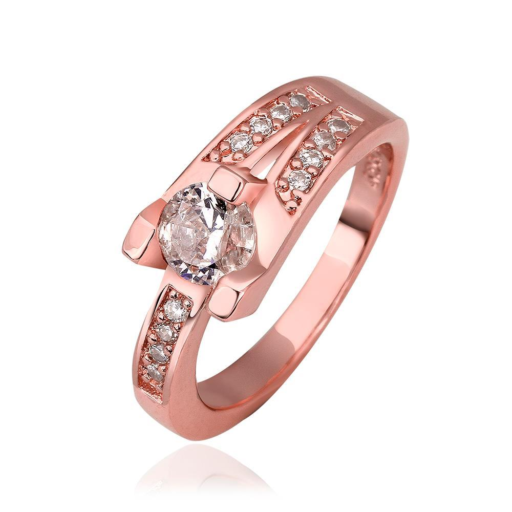 Vienna Jewelry Rose Gold Plated Trio-Linear Crystal Ring Size 8