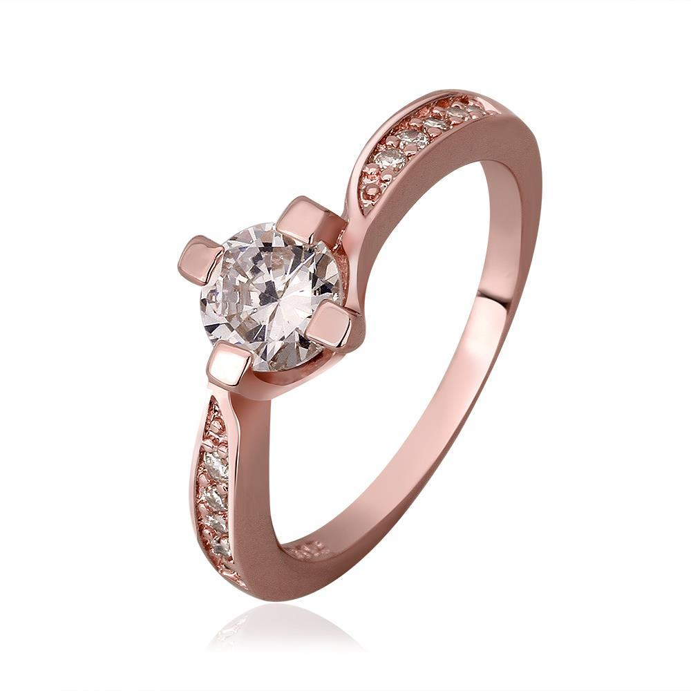 Vienna Jewelry Rose Gold Plated Petite Ring with Crystal Center Size 8