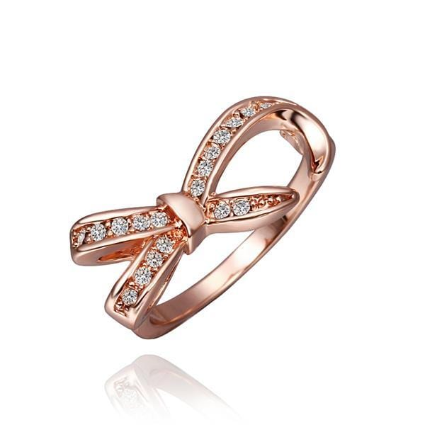 Vienna Jewelry Rose Gold Plated Crystal Jewels Bowtie Ring Size 8