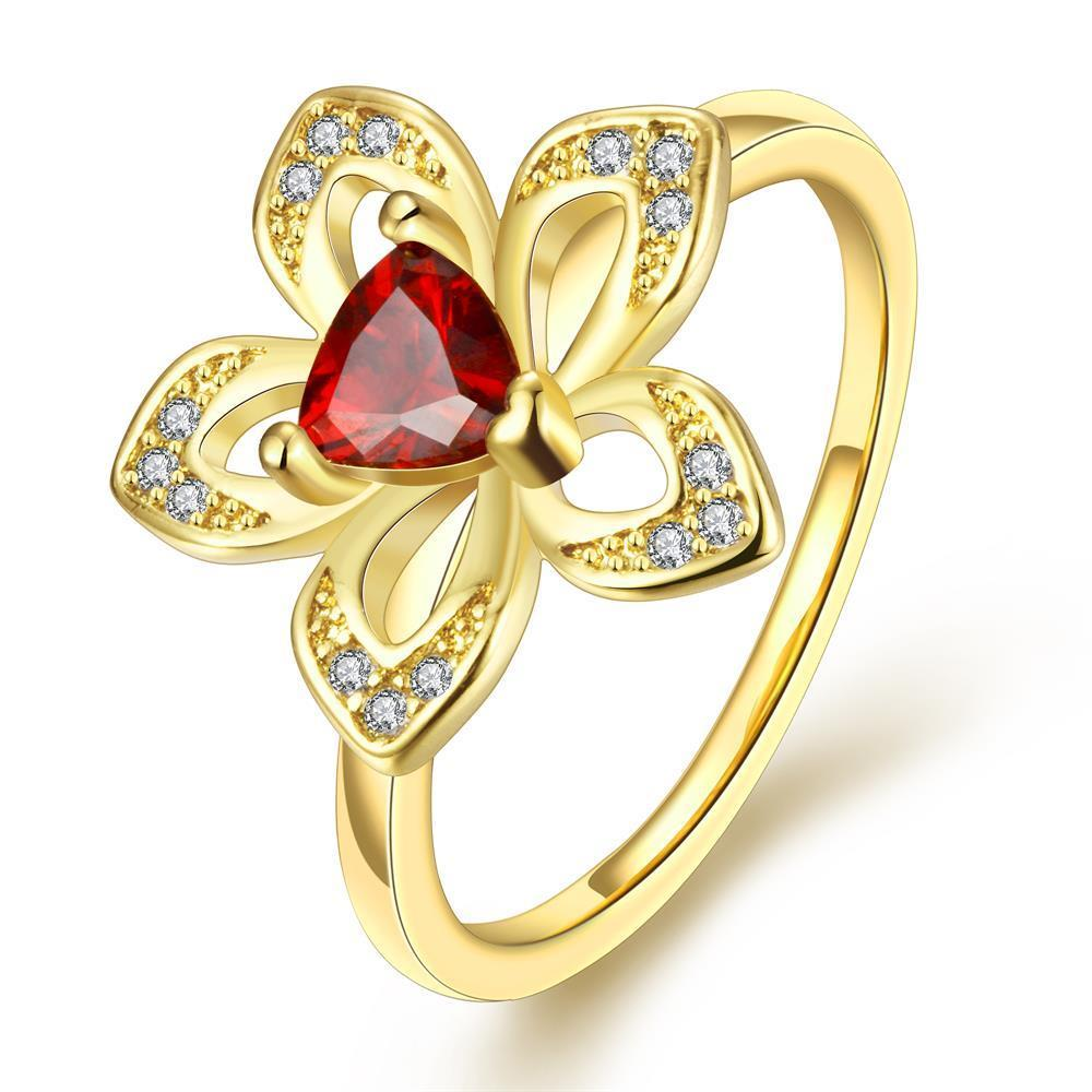 Vienna Jewelry Gold Plated Petite Ruby Clover Stud Ring Size 8