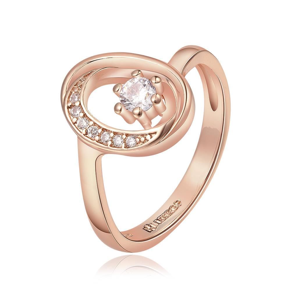 Vienna Jewelry Rose Gold Plated Petite Circular Emblem with Crystal Jewel Ring Size 7