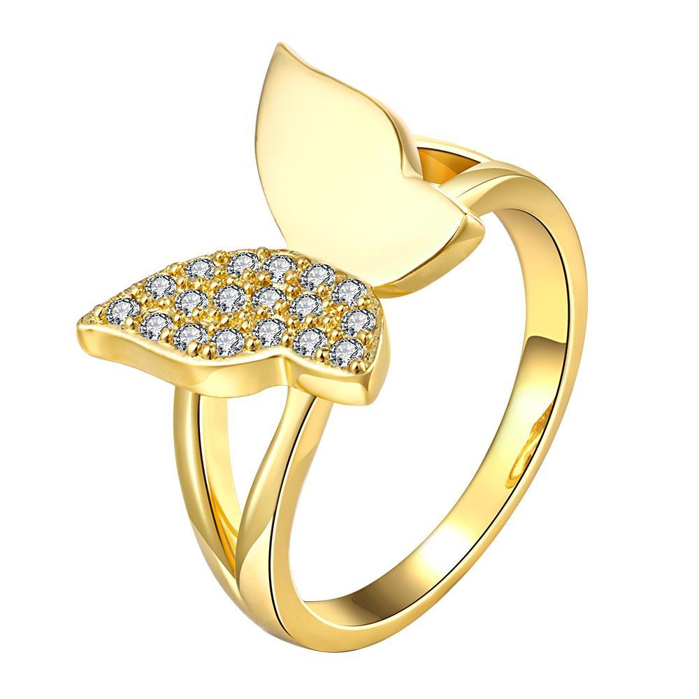 Vienna Jewelry Gold Plated Half-Toned Butterfly Ring