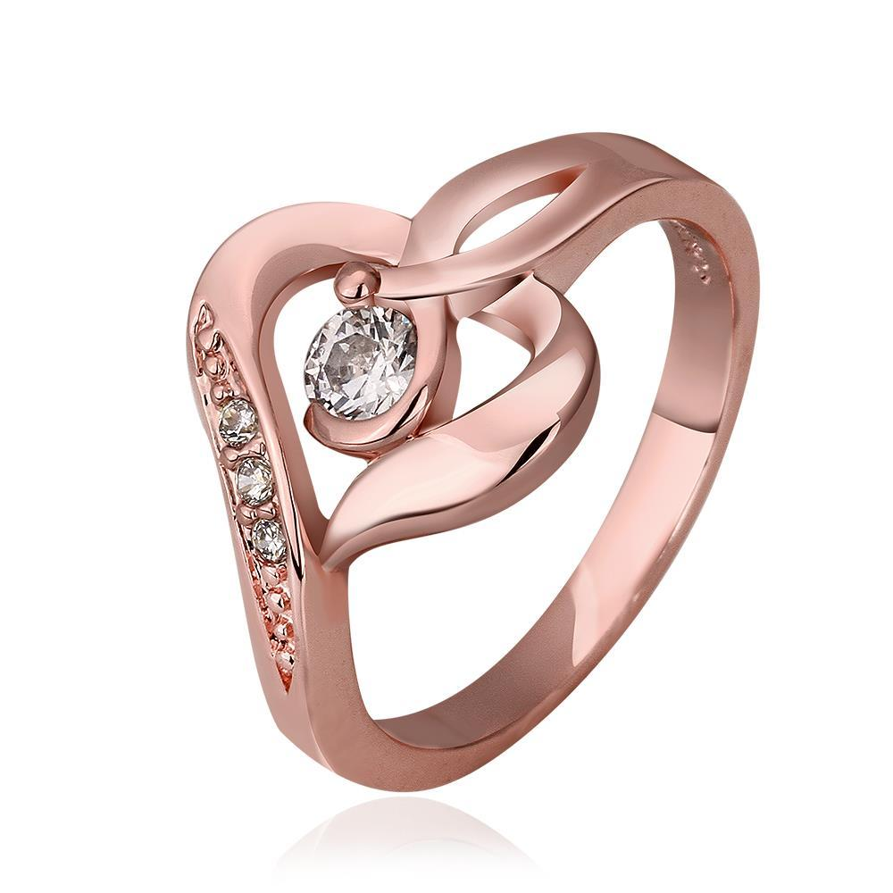 Vienna Jewelry Rose Gold Plated Heart Abstract Shaped Ring Size 7