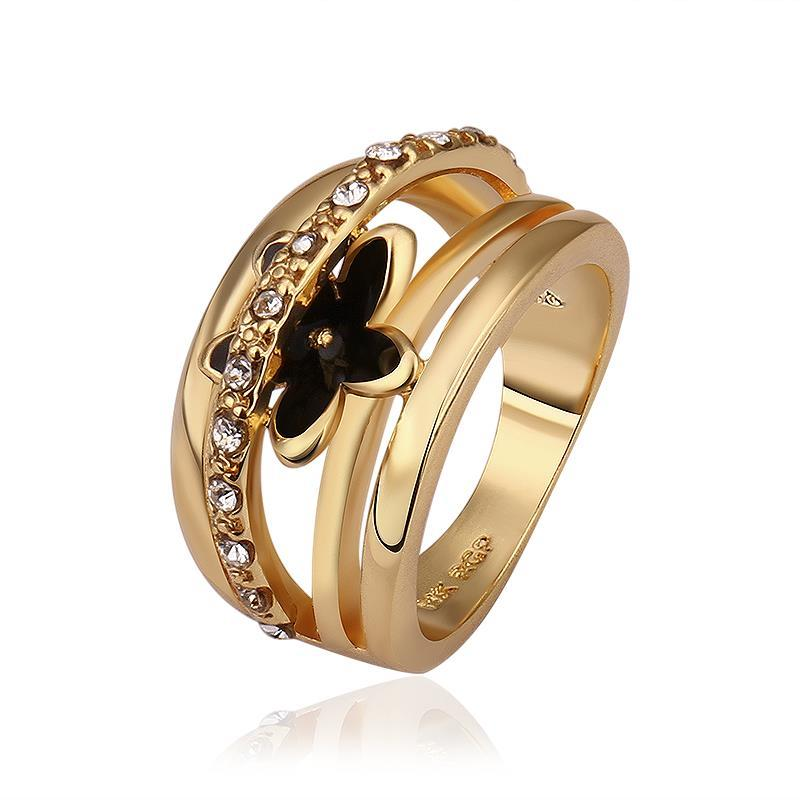 Vienna Jewelry Gold Plated Petite Onyx Floral Ring Size 8