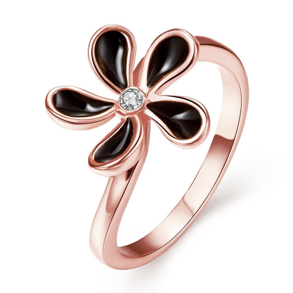 Vienna Jewelry Rose Gold Plated Classic Onyx Floral Petal Ring Size 7