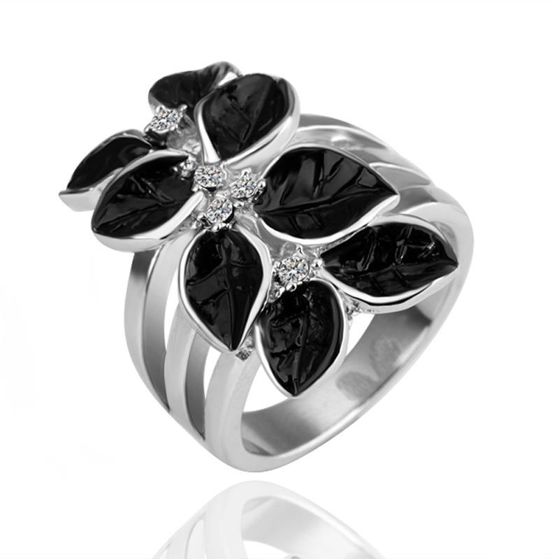 Vienna Jewelry White Gold Plated Onyx Leaf Branch Ring Size 8