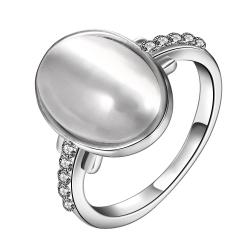 Vienna Jewelry White Gold Plated Ivory Center Ring with Jewels Covering Size 8 - Thumbnail 0