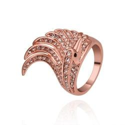 Vienna Jewelry Rose Gold Plated Spiral Curved Classical Cocktail Ring Size 8 - Thumbnail 0