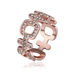 Vienna Jewelry Rose Gold Plated Laser Cut Horizontal Modern Ring Size 8 - Thumbnail 0