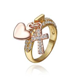 Vienna Jewelry Gold Plated Charms Locked Ring Size 8 - Thumbnail 0