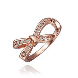 Vienna Jewelry Rose Gold Plated Crystal Jewels Bowtie Ring Size 8 - Thumbnail 0