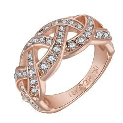Vienna Jewelry Rose Gold Plated Swirl Design Classical Wedding Band Size 7 - Thumbnail 0