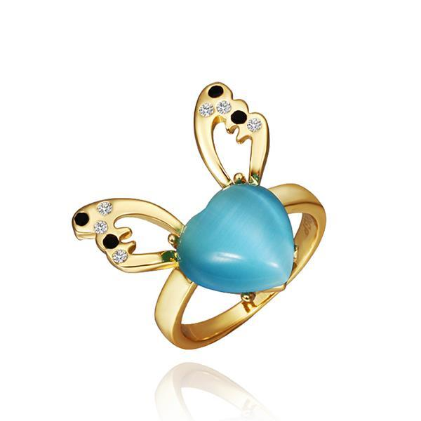Vienna Jewelry Gold Plated Saphire Gem Butterfly Ring Size 8