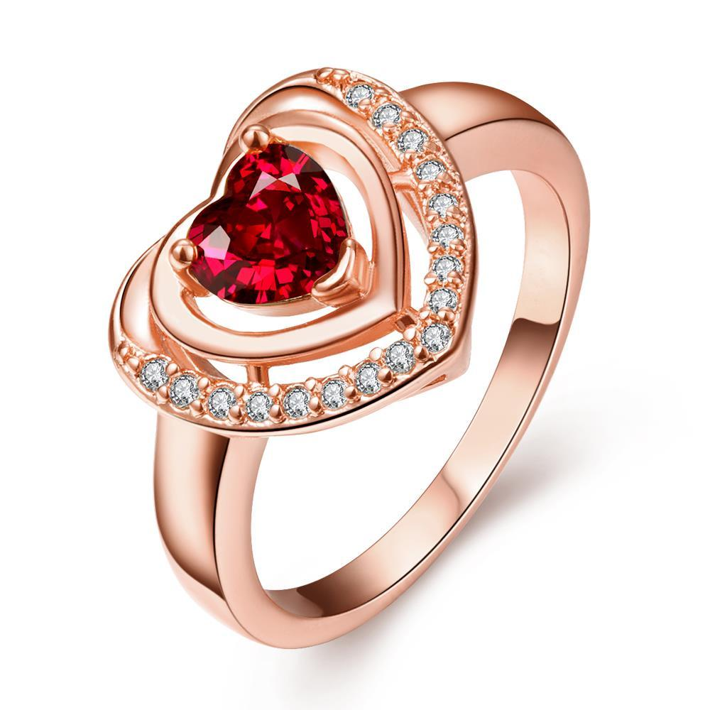 Vienna Jewelry Rose Gold Plated Ruby Opening Ring Size 8