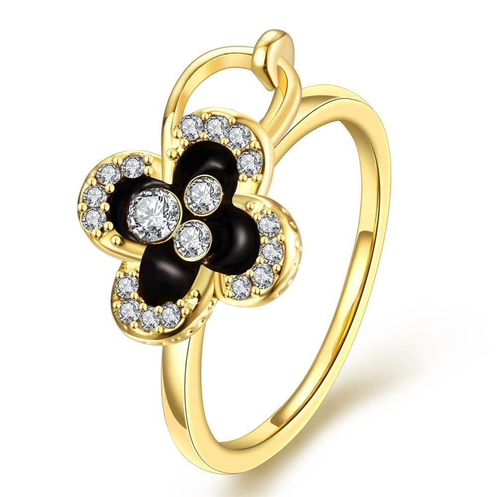 Vienna Jewelry Gold Plated Onyx Clover Stud Ring Size 8