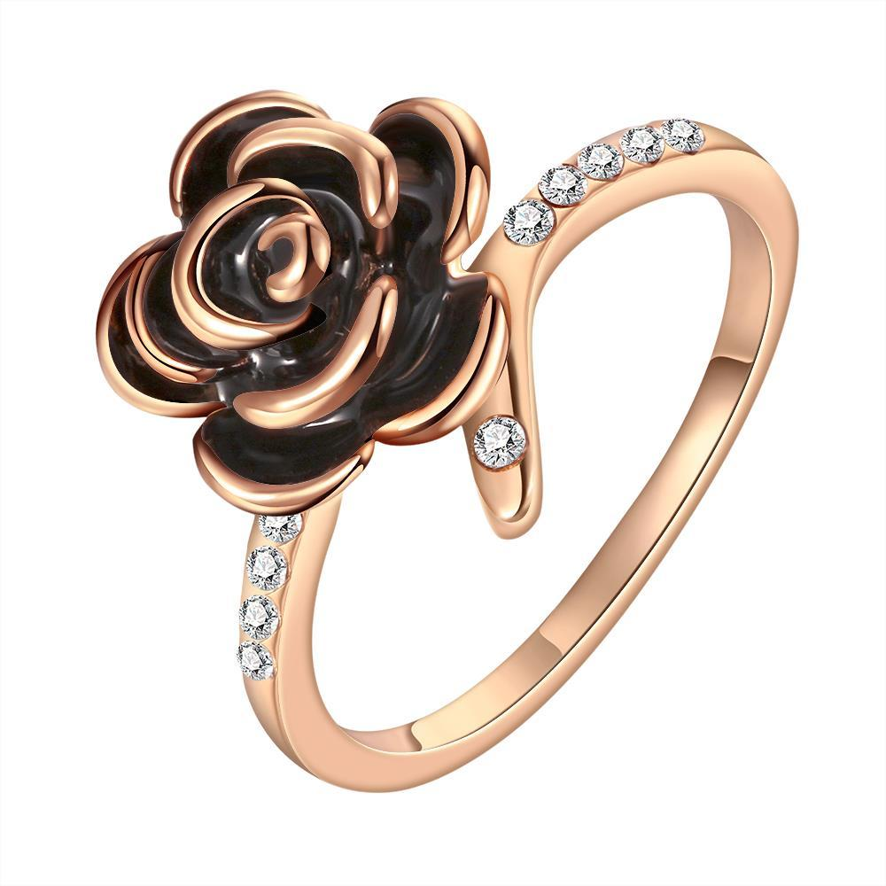 Vienna Jewelry Rose Gold Plated Onyx Layering Floral Ring Size 8