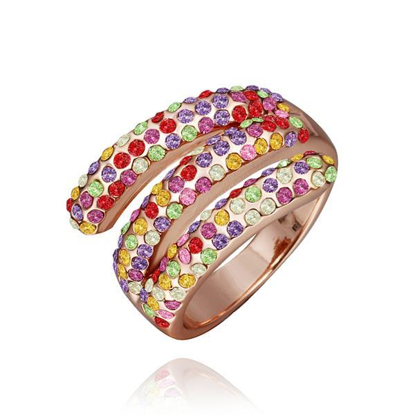 Vienna Jewelry Rose Gold Plated Matrix Curved Rainbow Jewels Ring Size 8