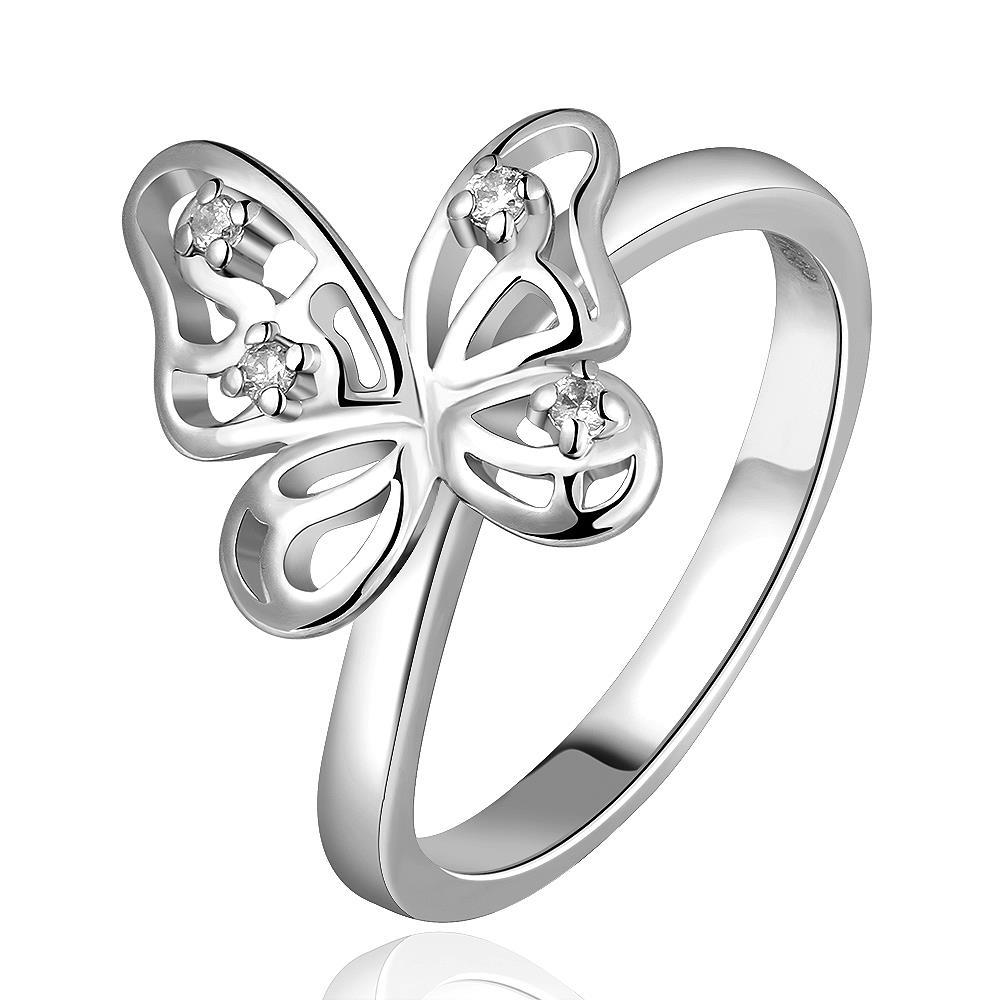 Vienna Jewelry White Gold Plated Petite Butterfly Ring Size 7