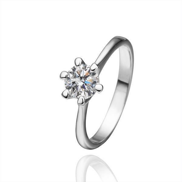Vienna Jewelry Petite White Gold Classic Jewel Ring Size 8