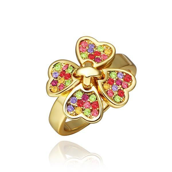 Vienna Jewelry Gold Plated Rainbow Covering Clover Ring Size 8