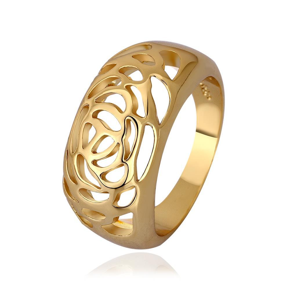 Vienna Jewelry Gold Plated Laser Cut Designer Inspired Ring Size 8