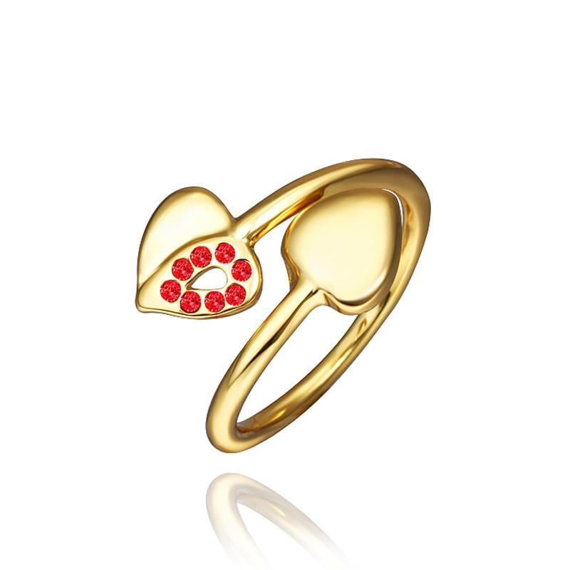 Vienna Jewelry Petite Gold Plated Ruby Swirl Ring Size 8