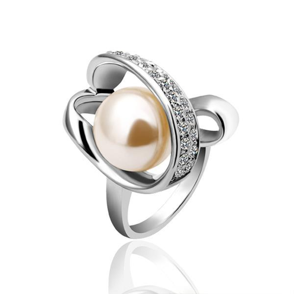 Vienna Jewelry White Gold Plated Pearl Twisted Center Ring Size 7
