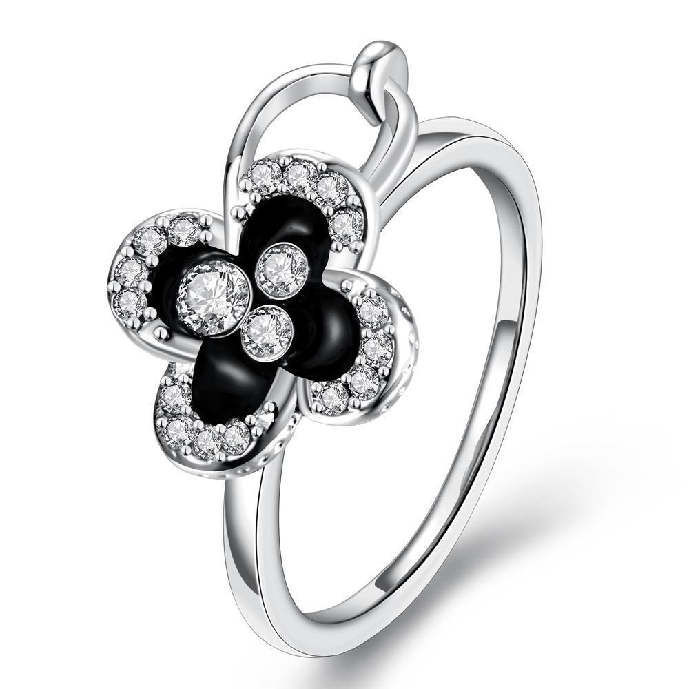 Vienna Jewelry White Gold Plated Onyx Clover Stud Ring Size 7