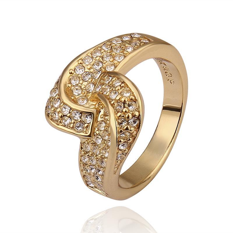 Vienna Jewelry Gold Plated Matrix Swirl Love-Knot Ring Covered with Jewels Ring Size 8