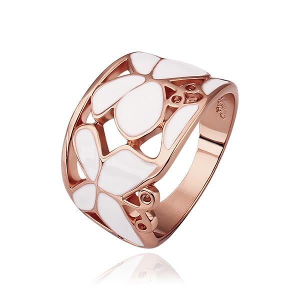 Vienna Jewelry Rose Gold Plated Ivory Layering Laser Cut Ring Size 8