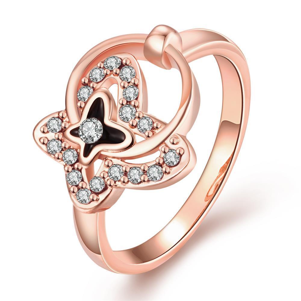 Vienna Jewelry Rose Gold Plated Petite Circular Butterfly Ring Size 8