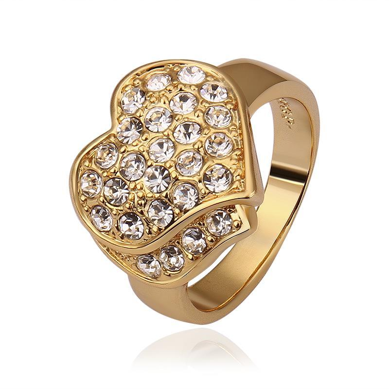 Vienna Jewelry Gold Plated Jewels Crusted Heart Shaped Ring Size 8