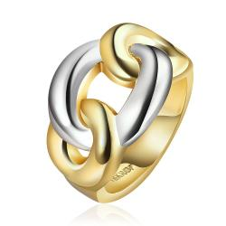Vienna Jewelry Gold Plated Modern Chain Twist Ring Size 7 - Thumbnail 0