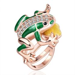 Vienna Jewelry Gold Plated Amazon Frog Ring Size 8 - Thumbnail 0
