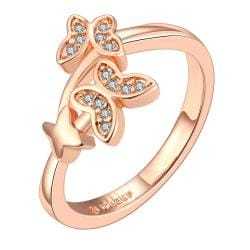 Vienna Jewelry Rose Gold Plated Petite Double Butterfly Ring Size 7 - Thumbnail 0