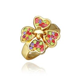 Vienna Jewelry Gold Plated Rainbow Covering Clover Ring Size 8 - Thumbnail 0