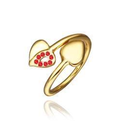 Vienna Jewelry Petite Gold Plated Ruby Swirl Ring Size 8 - Thumbnail 0
