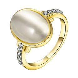 Vienna Jewelry Gold Plated Ivory Center Ring with Jewels Covering Size 8 - Thumbnail 0
