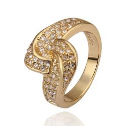 Vienna Jewelry Gold Plated Matrix Swirl Love-Knot Ring Covered with Jewels Ring Size 8 - Thumbnail 0