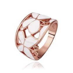 Vienna Jewelry Rose Gold Plated Ivory Layering Laser Cut Ring Size 8 - Thumbnail 0