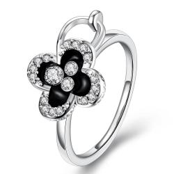 Vienna Jewelry White Gold Plated Onyx Clover Stud Ring Size 8 - Thumbnail 0