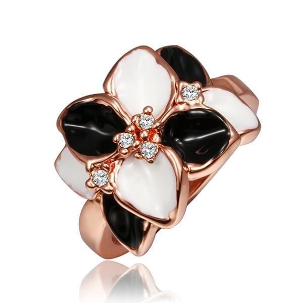 Vienna Jewelry Rose Gold Plated Onyx & Ivory Plated Ring Size 8