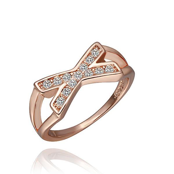 Vienna Jewelry Rose Gold Plated Crystal Jewels Swirl Ring Size 8