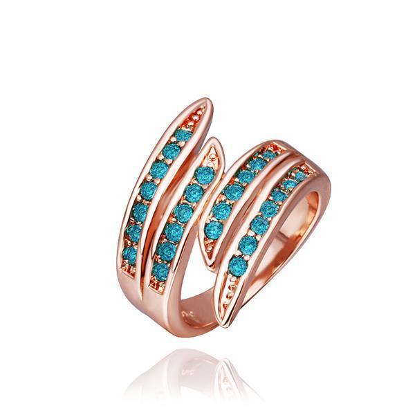 Vienna Jewelry Rose Gold Plated Emerald Swirl Ring Size 8