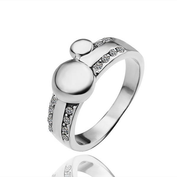 Vienna Jewelry White Gold Plated Circular Covering Lined Ring Size 8